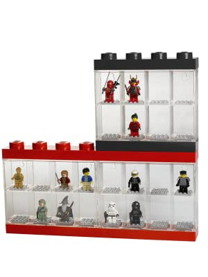 Holds 16 Figures LEGO Minifigure Display Case Multiple Colors Black or Red