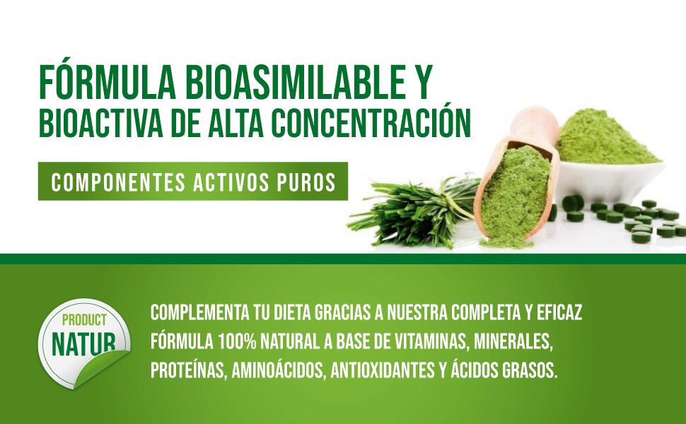 Espirulina Pura con Chlorella y Vitamina C | Espirulina con 99% de pureza | Fuente rica en Vitaminas esenciales, Proteínas, Minerales y Aminoácidos | ...