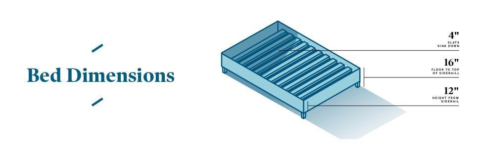 dimensions bed base platform
