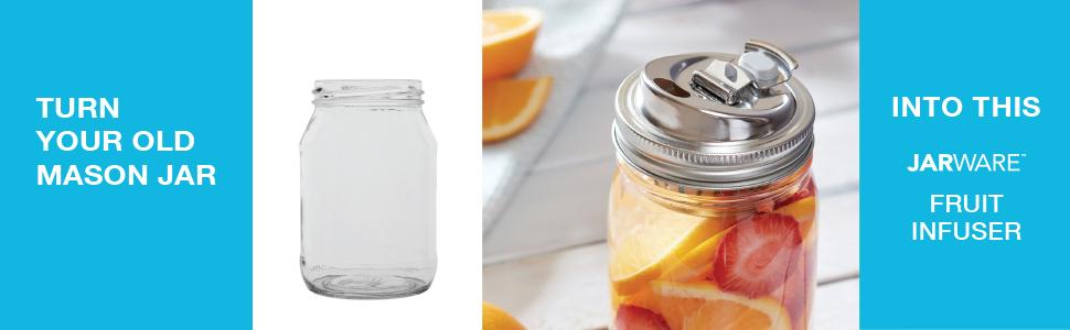 Jarware Ball Mason Jar Canning Lid Cuppow Cocktail Shaker Drink Lid Honey Dipper Citrus Juicer