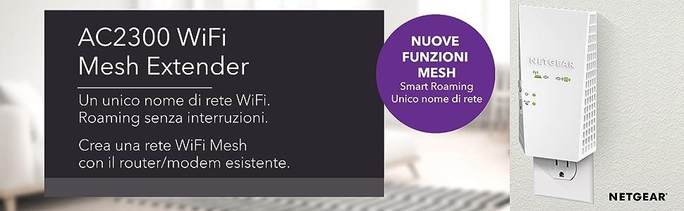 AC2300 WiFi Mesh Extender Un Unico nome di rente WiFi, Roaming senza interruzioni