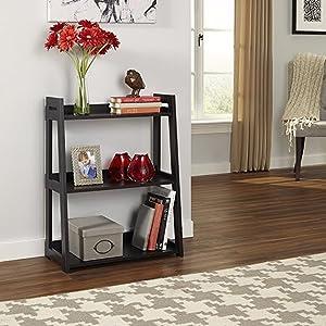 easy to assemble, easy assembly bookshelf, bookcase, ladder shelf, ladder bookshelf, wood