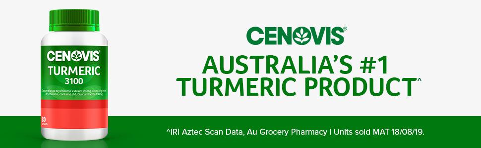 Cenovis; Australia's number 1 turmeric product; Turmeric capsules; Turmeric supplements