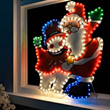 Werchristmas santa and snowman rope lights silhouette christmas constructed with durable rope light aloadofball Gallery