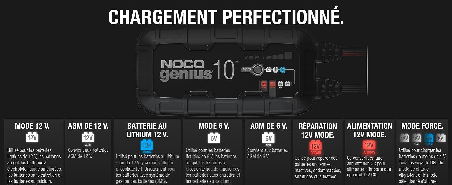 NOCO GENIUS10EU, Chargeur Intelligent Automatique de 10A, Chargeur de Batterie 6V et 12V