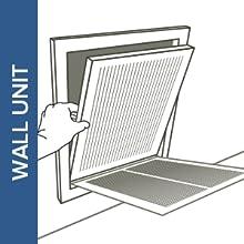 illustration inserting filtrete filter into wall unit