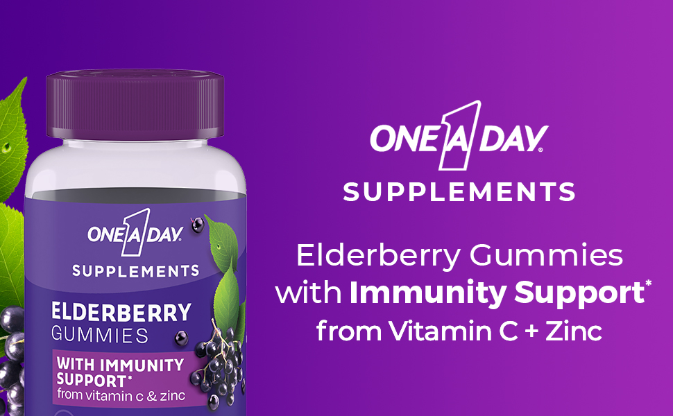 bayer one a day elderberry gummies immunity support vitamin c zinc adults