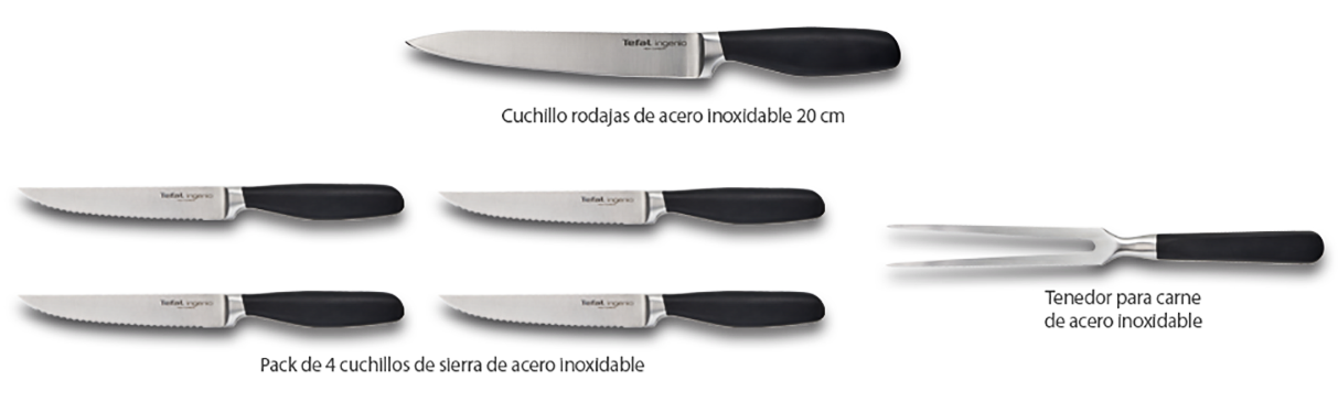 Tefal Ingenio K09120 Tenedor De Carne,17 Cm, Acero Inoxidable, Plateado