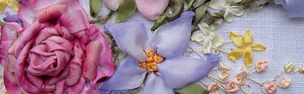 silk ribbon embroidery,silk ribbon,embroidery,flowers,floral,seasonal,romantic,whimsical,embroidery