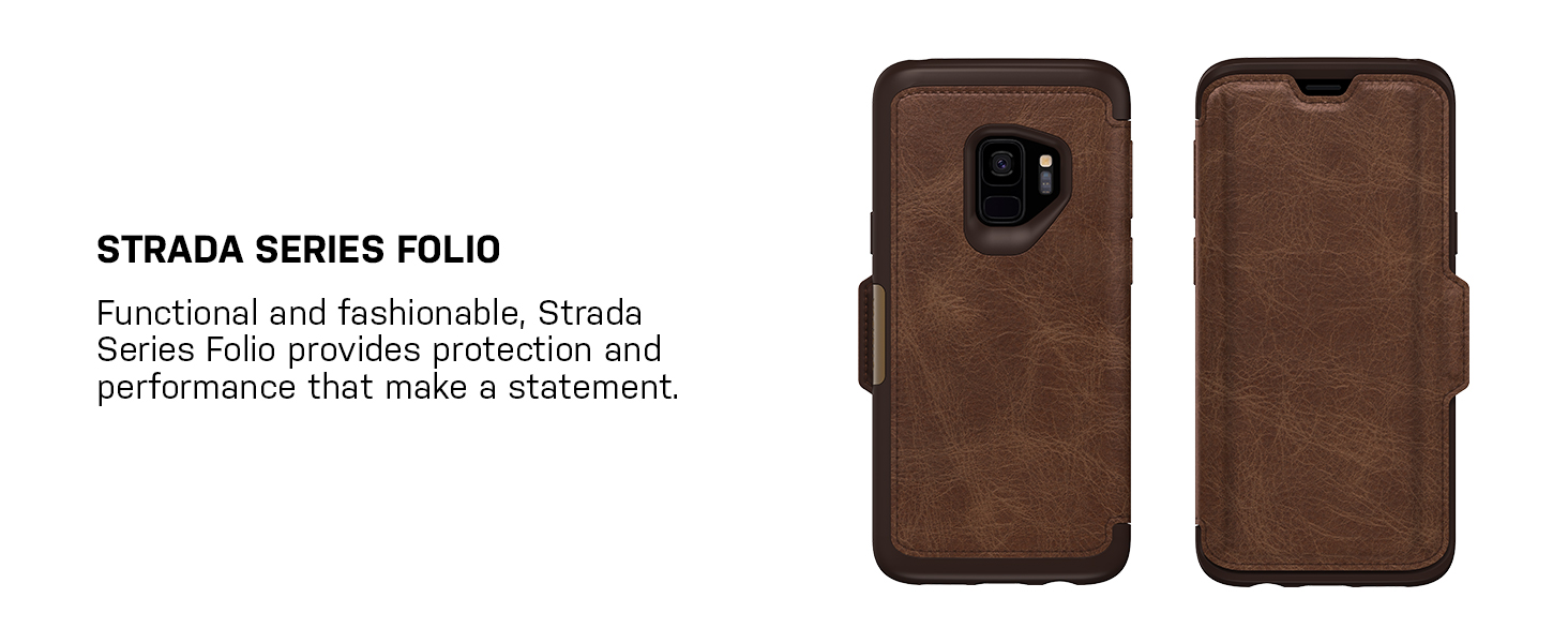info for 4463e b0adc OtterBox Strada Series Case for Samsung Galaxy S9 - Frustration Free  Packaging - Shadow (Black/Pewter)