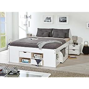 links 20900170 bett 140x200 cm doppelbett jugendbett stauraumbett funktionsbett wei rost kiefer. Black Bedroom Furniture Sets. Home Design Ideas