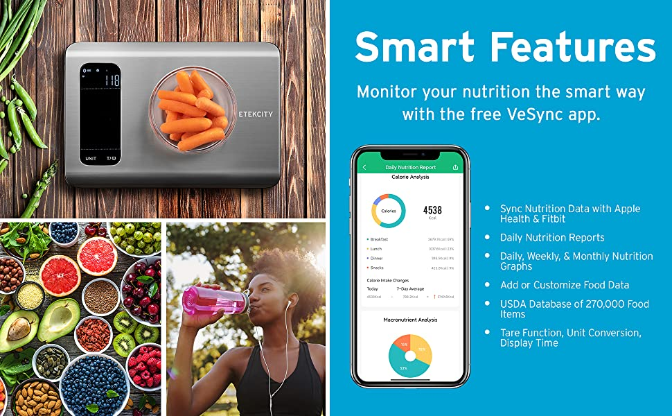 Nutrition Diary: Track your daily, weekly, and monthly food habits on the VeSync app.