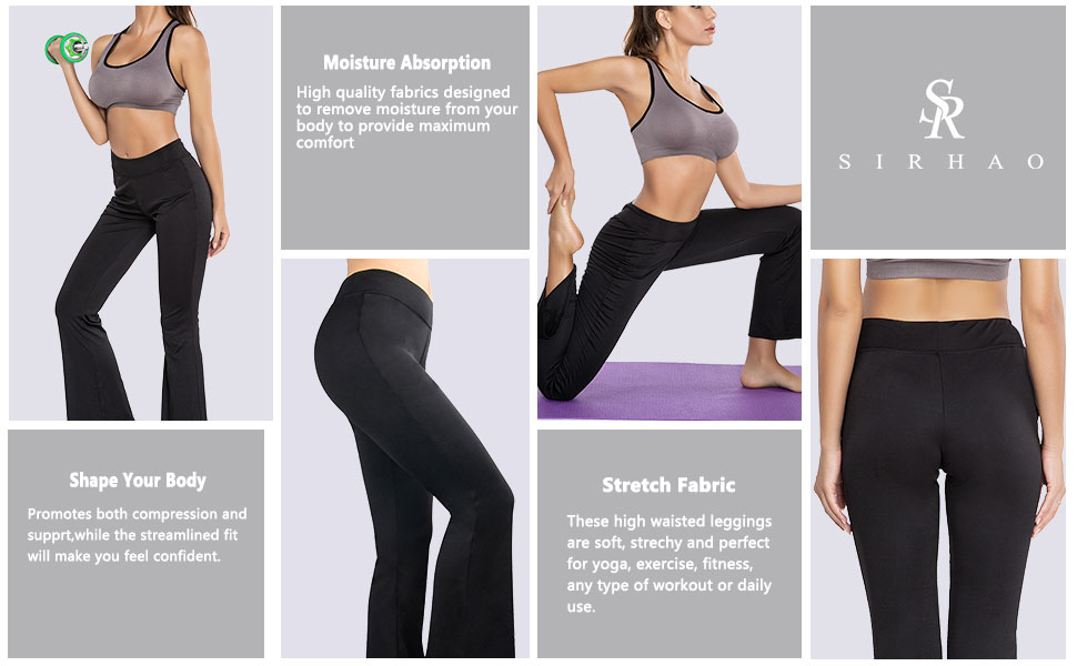 Sirhao Yoga Pants for Women Leggings Bootcut Flex High-Waist Tummy Control 4-Way Stretch Yoga Pants for Workout