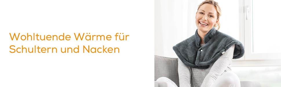 beurer hk 54 wärmekissen wohltuende wärme für schulter und nacken grau frau auf sofa