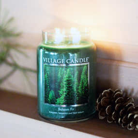 Large Village Candle Balsam Fir 26 oz Glass Jar Scented Candle