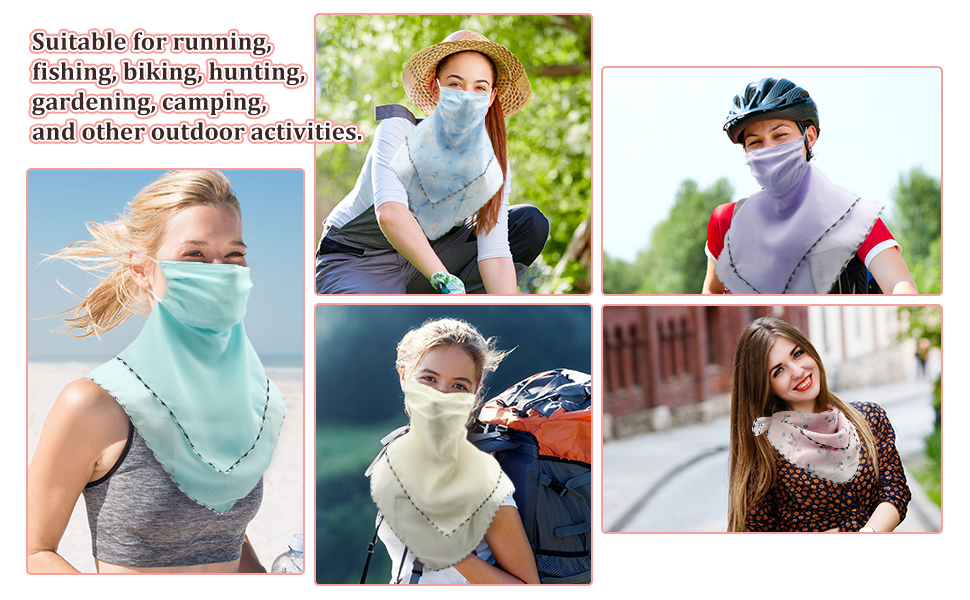 Womens UV Layered Dustproof Wind-Resistant Face Cover Beach Matching Choice by Sandistore UPF Sun Protective Scarf