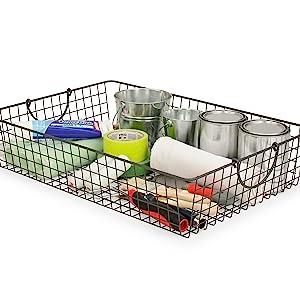 Garage Basket Bin Storage Wire Organizer Tool Paint Utility Holder