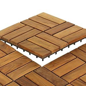 Bare Decor 12 Slat Ez Teak Flooring 1 Sample Tile Brown