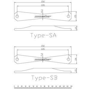 バッテリーステー Type-SA 297100-0000SA Type-SB 297100-0000SB 現車確認用寸法データ