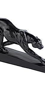 Black art deco home decor black panther decorative sculpture accent object