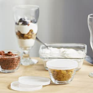 Libbey libby glass glassware food prep storage bowls lids lidded small mini ingredients spice herbs