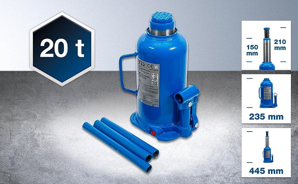 Bgs 9888 Hydraulischer Flaschen Wagenheber 20 T Stempelwagenheber Kompakt Wagenheber Auto