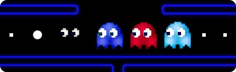 Reihe von Pac-Man-Leuchten in verschiedenen Farben.