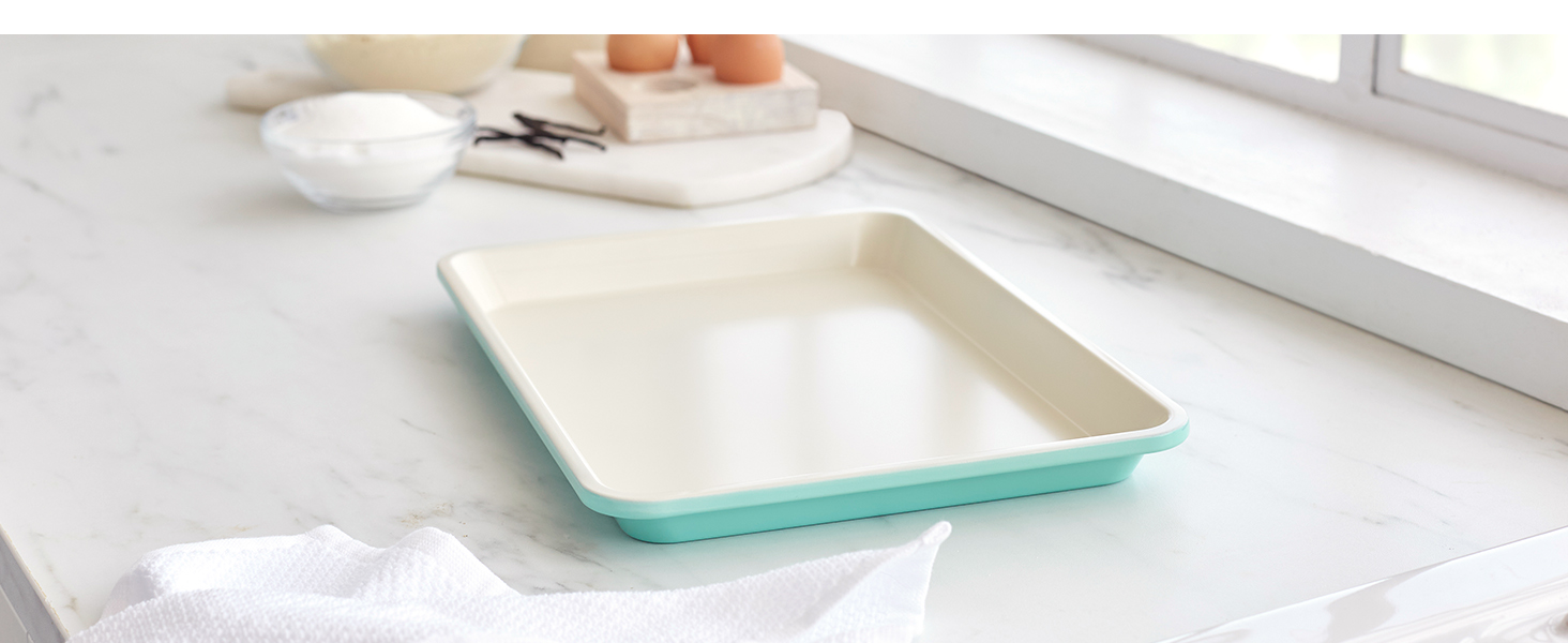 GreenLife heavy-duty steel, nonstick bakeware, easy cooking, tough, PFAS, easy to clean, sheet pan