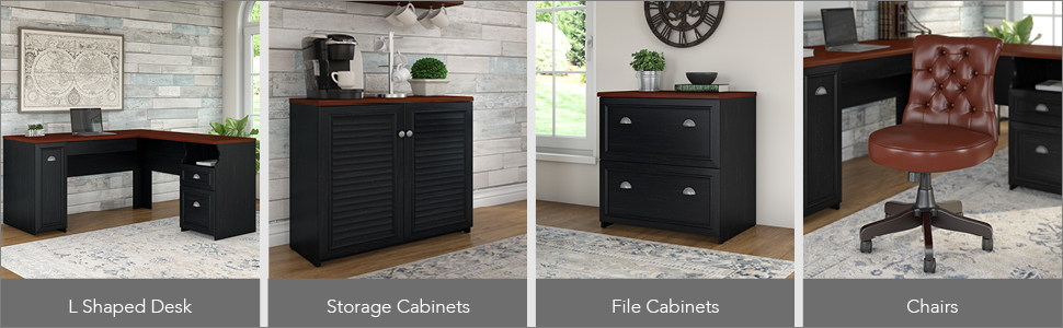 bush furniture,fairview,antique black,black,country cottage,bush,bush industries