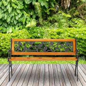 Relaxdays, Marrón, Banco Jardín y Terraza de 2 Plazas con Rosas, Madera y Hierro Fundido, 73 x 125 x 52 cm: Amazon.es: Jardín