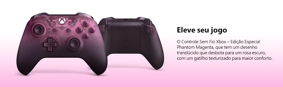 controle xbox, phantom magenta, controle sem fio, controle video game, controle pc, xbox one, xbox