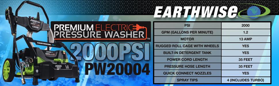 Earthwise pressure washer, pressure washer, pressure washer, 13 amp pressure washer, electric