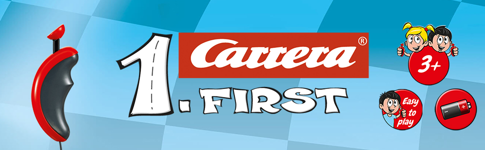 Carrera FIRST Beginner Battery Operated 1:50 Scale Slot Car Racing Track Set For Young Kids Ages 3+.
