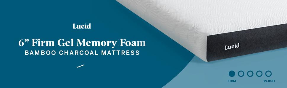 """lucid 6"""" firm gel memory foam bamboo charcoal mattress"""
