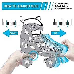 Adjustable skate sizing