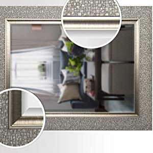 Mirrorize Canada Antique Mosaic Framed Wall Mirror Vanity Powder Room Bathroom Bedroom 27x35 Silver Rectangle Large Accent Mirror Amazon Ca Home Kitchen