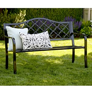 painted black chair bench furniture front lawn area outside
