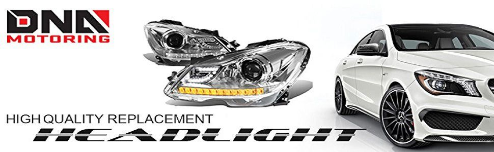 Driver /& Passenger Side DNA Motoring HL-LB-DR06-CH-CL1 Headlight