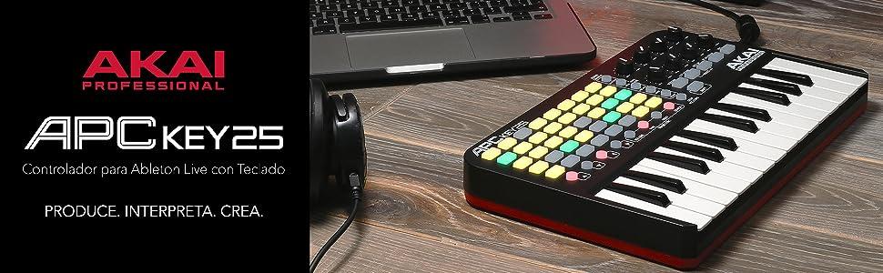 AKAI Professional APC KEY 25 - Teclado controlador MIDI USB para Ableton con 25 teclas de estilo piano, disparador de clips de 40 pads y 8 ...