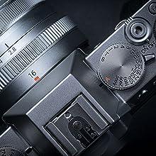 X-T30, bague de diaphragme, bague de vitesse, vitesse d'obturation, flash, déclencheur, xf 16 2.8