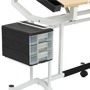 desk with drawers, craft table with storage, scrapbook storage, scraptbooking, craft supplies
