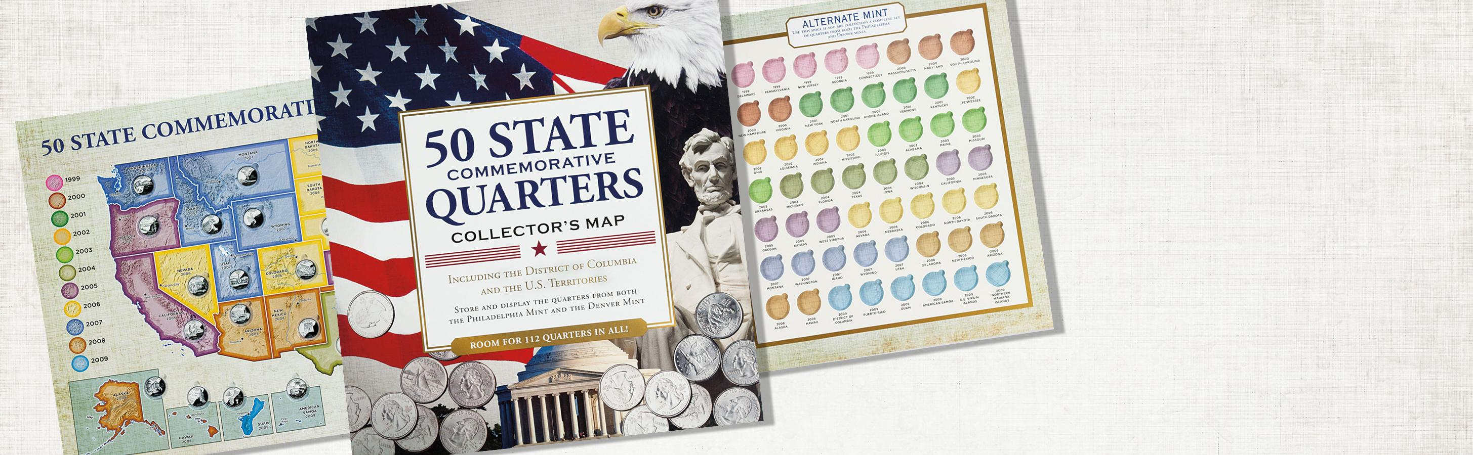 Amazoncom State Commemorative Quarters Collectors Map - Us map for collecting quarters