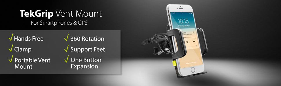 Vent Mount for smartphones gps hands free clamp grip portable one button expansion