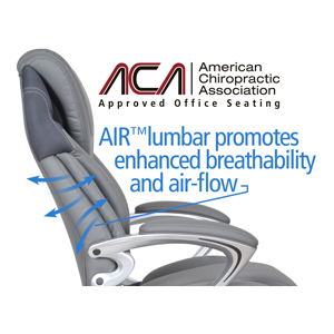 Air lumbar promotes enhanced breath-ability and air-flow