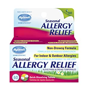 Allergy Pills by Hylands, Non Drowsy Seasonal Allergy Relief, Safe and Natural for Indoor & Outdoor Allergies, 60 Quick Dissolving Tablets