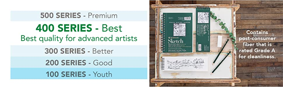 Strathmore 400 Series papers, best quality for advanced artists. Recycled art paper. Drawing pad