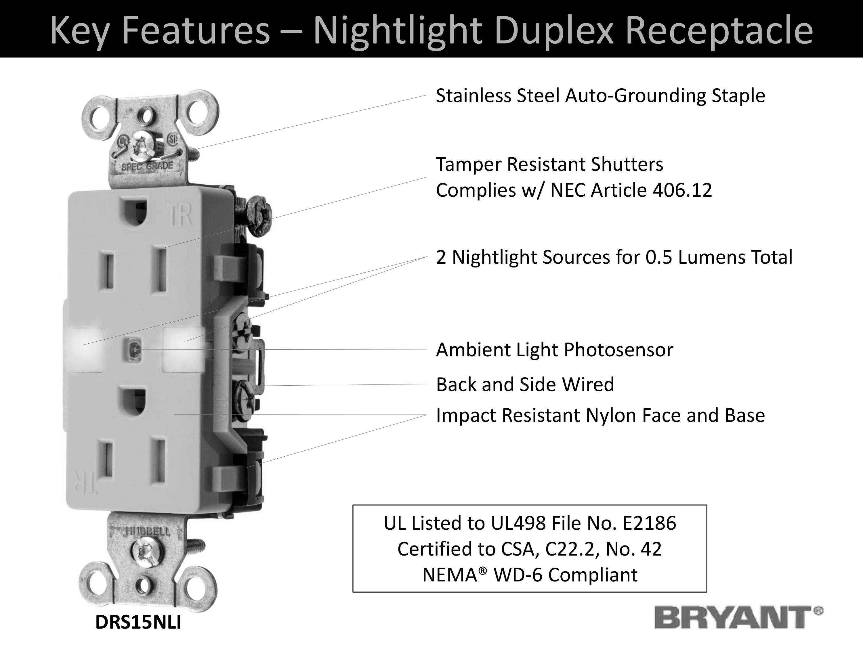 Bryant Electric Drs15nlla Combination Led Nightlight With Automatic Tamper Wiring Diagram For View Larger