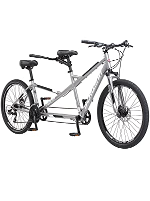 Amazon Com Schwinn Twinn Tandem Large Bicycle 26 Wheels Grey