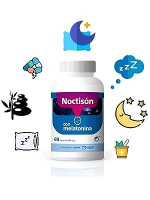 Imagen del producto noctison con fondo blanco e iconos de naturaleza, noche, sueño y