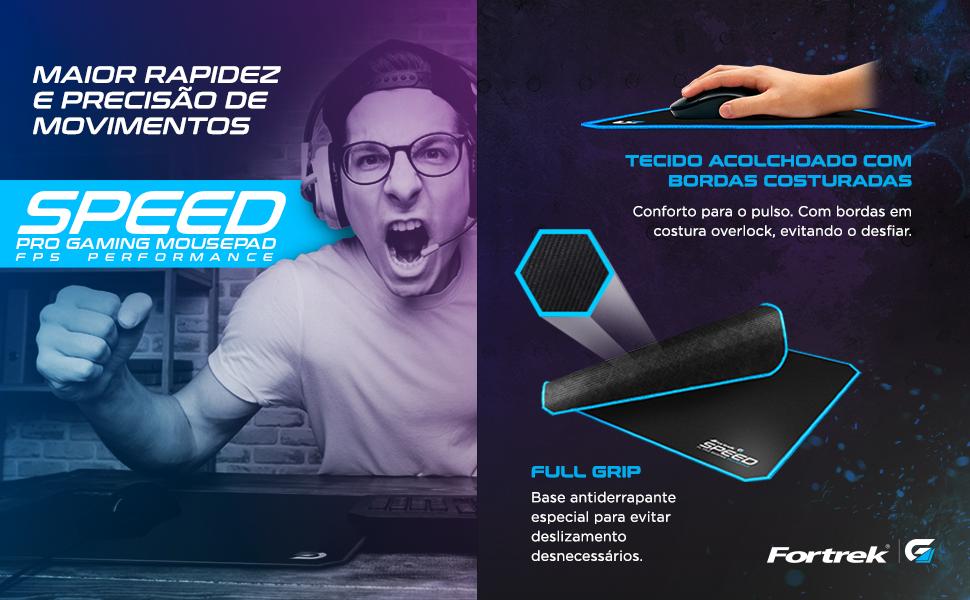 Mouse Pad Gamer Tecido Acolchoado Bordas Costuradas Rapidez Precisão Speed Gaming